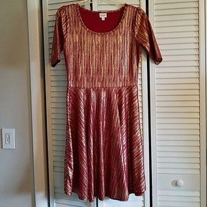Lularoe Red and Gold Nicole Dress Size XL